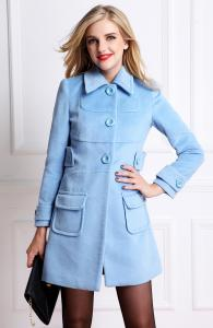 China 2014 NEW Winter  Women Brand Blue Sky Butterfly Women fashion  long-sleeved wool coat D877 in stock now on sale