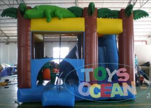 China 0.55mm PVC Inflatable Amazon Crocodile Bouncer Combo With Slide on sale