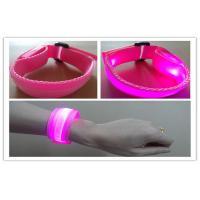 Nylon Pink LED Flashing Bracelet ,  Men LED Running Bracelet For Outdoor Sport