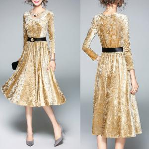 China A-line Long Sleeve elegant office dresses for lady on sale