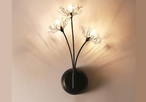 China Bedroom Led Wall Strip Lights 3 Heads Of Romantic Nordic Flower Lanterns Crystal on sale