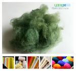 1.5D * 38MM Green Color Polyester Fiber , PSF Polyester Staple Fiber For Yarn