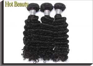 China Black Virgin Human Hair Extensions / Americadyed Bleached Deep Wave Remy Hair on sale