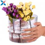 Waterproof Acrylic Flower Box Makeup Organizer Holder Round Shape ROHS Approval