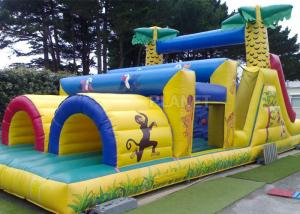 China Jungle Theme Inflatable Obstacle Course Plato 0.55 Mm PVC Material on sale