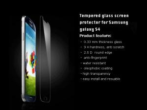 China Anti-fingerprint for Guard Samsung galaxy S4 Clear Full Size Tempered Glass on sale