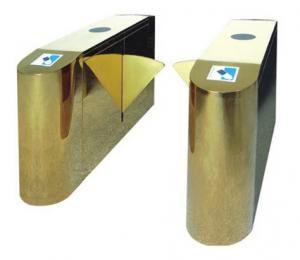 China Luxury Gold Flap Gate Turnstile Barrier Security Access Control Highend Star Hotel Offices on sale