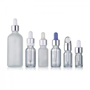 China Custom - Made Round Essential Oil Bottles , Clear Matte Glass Dropper Bottles on sale