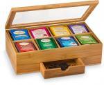 luxury custom bamboo acrylic tea box organizer
