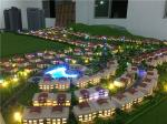 1/300 scale real estate development model with warm light for villas