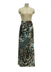 China Leo Print Beautiful Womens Long Skirts , High Waisted Bodycon Skirt Anti Wrinkle on sale