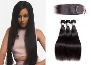 China 100% Human Hair Weave Bundles With Closure Multiple Hair Textures No Shedding on sale