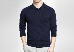 China Autumn Navy Blue Mens Polo Shirts , Lapel Loose Long Sleeve Polo Shirts For Men on sale
