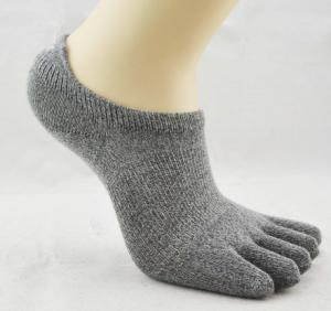 China Comfortable Five Toe Socks , Embroidered Lovely Gray 5 Toe Socks on sale