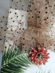 Three Dimensional 3D Floral Lace Fabric Dot Flocked Tulle Cording Mesh