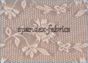 China Ivory Floral Lace Power Mesh Fabric for Dress , Nylon Spandex Net Fabric on sale