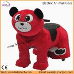 Kids Electric Power Ride on Motorcycle wheels Bike, Happy Trails Bear Plush Rocking Animal