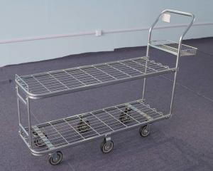 China Rolling Wire Trolley Cart  , Supermarket Shopping Trolley For Warehouse on sale