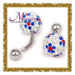 Customized shiny sliver body piercings jewellery ring with colorful crystal ball BJ57
