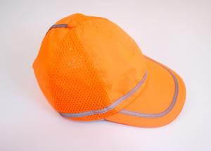 China 100% polyester fabric with mesh fabric stitch Orange reflective safety hats with reflective tape for running cycling on sale