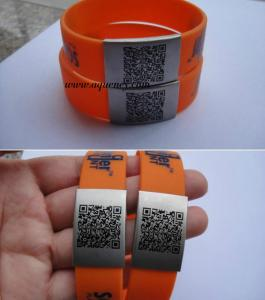 China Unique QR Code on Stainless Steel Metal Custom size QR code ID Plate QR Code Bracelet on sale