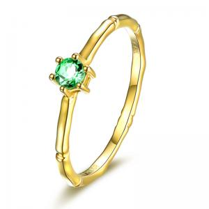 China Fine Real Gemstone Jewelry , Small Emerald Solitaire Promise Ring May Birthstone on sale