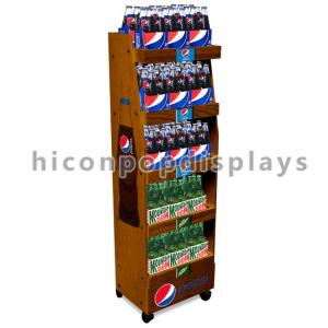 China Movable Solid Wood Cola Display Stand Freestanding Drinks Shop Merchandising Display on sale
