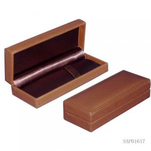 China Brown pen Gift Box  , Fountain Pen Leather Case Plastic Mould Top Sewing on sale
