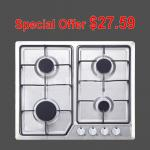 Built In Stainless Steel Kitchen Gas Hob With Cast Iron Pan Supports / Auto Igntion