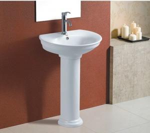 China Bathroom suite floor standing pedestal wash basin on sale