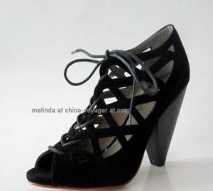 China Black Chunky Heel Fashion Shoes on sale