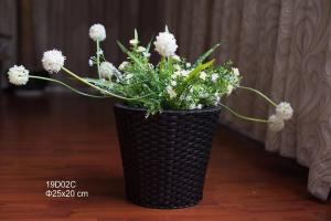 China 25cm Round shape Black color PE rattan woven flower pot and plant pots,hanging flower pot, flower pot on sale