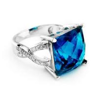 Sterling silver ring,blue topaz ring,925 silver jewelry