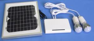 China Portable solar home system 5W solar panel  Lithium battery, with 2pcs LED bulbs and USB mobile charging on sale