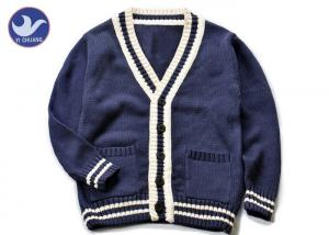 China Cotton Stripes Collar Boys Navy Blue Cardigan Sweater , Boys Knitted Cardigan on sale