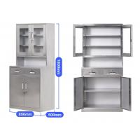 Anti - Rust Lockable Steel Storage Cabinets , Lockable Steel Cupboard With Glass Door