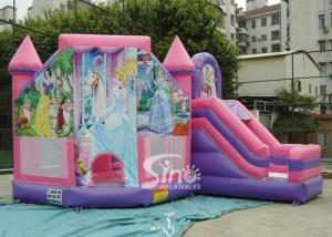China 6x5m Commercial kids party princess inflatable bouncy castles with slide for outdoor from Sino Inflatable on sale