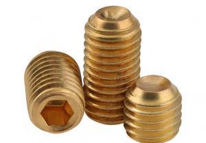 China Yellow Brass Hex Socket Metal Set Screws GB80 Drive Cup Point Headless Screw on sale