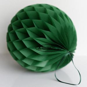 China Dark Green Tissue Paper Honeycomb Balls Pom Poms With Satin Ribbon Loop on sale