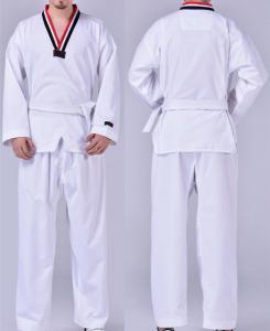 China Long and short sleeves black/white/red collar taekwondo dobok WTF dobok taekwondo uniform on sale