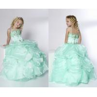 China Ball Gown Spaghetti Pick-Ups Floor Length Little Girl Pageant Dresses With Beads on sale
