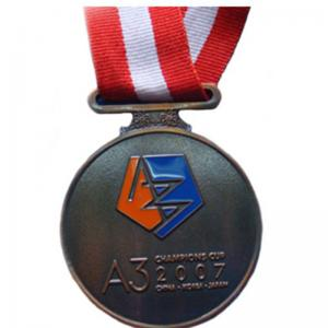 China 1mm - 5mm Thickness Custom Engraved Medals , Metal Award Medals With Ribbon on sale