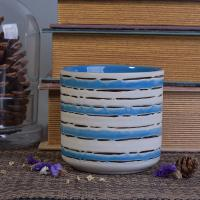 Eco-friendly Hand Painted Candle Cup Holders Ceramic Candle Jars