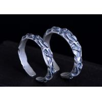 S925 Silver Simple Fossil Texture Ring Lover Couples Models Opening Adjustable Ring Personality Thai Silver Rings
