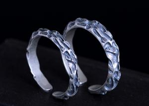 China S925 Silver Simple Fossil Texture Ring Lover Couples Models Opening Adjustable Ring Personality Thai Silver Rings on sale