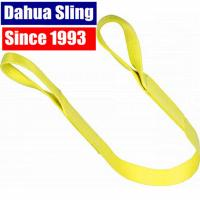 China Yellow 3ton 2 Ply Polyester Flat Lifting Slings Light Weight Eye Slings , WSTDA Standard on sale