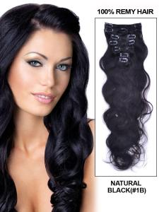 China Top Quality 16inch Natual Black Body Wave 100% Human Remy Hair Clip on Hair Extension on sale