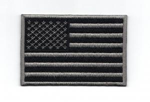 China Iron-on, 9cm*6cm, twill 100% embroidered flag patches with two thread colors on sale