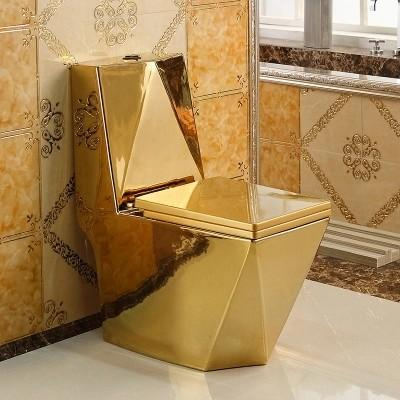 Bathroom ceramic One Piece Sanitary Wares WC Full Plating Golden ...