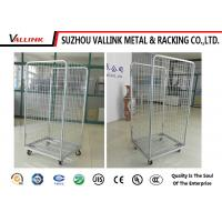 Zinc Surface Foldable Roll Cage Trolley With 4 Wheels , 4 Sided Roll Cages